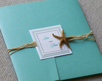 Starfish invitation, destination wedding invitation, beach invitation, custom colors, custom sample