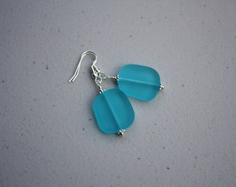 Aqua Sea Glass Earrings, Seaglass Earrings Sea Glass Jewelry, Beach Glass Earrings, Beach Glass Jewelry, Beach Jewelry, Seaglass Jewelry 070
