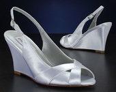 Wedding Shoes - Slingback Wedge Sandal- Custom Colors- PBD103B Women's Bridal Wedge Shoes