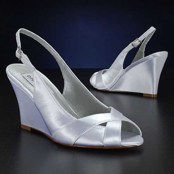 Bridal Shoes Dsw: Wedding Shoes Slingback Wedge Sandal Custom Colors PBD103B