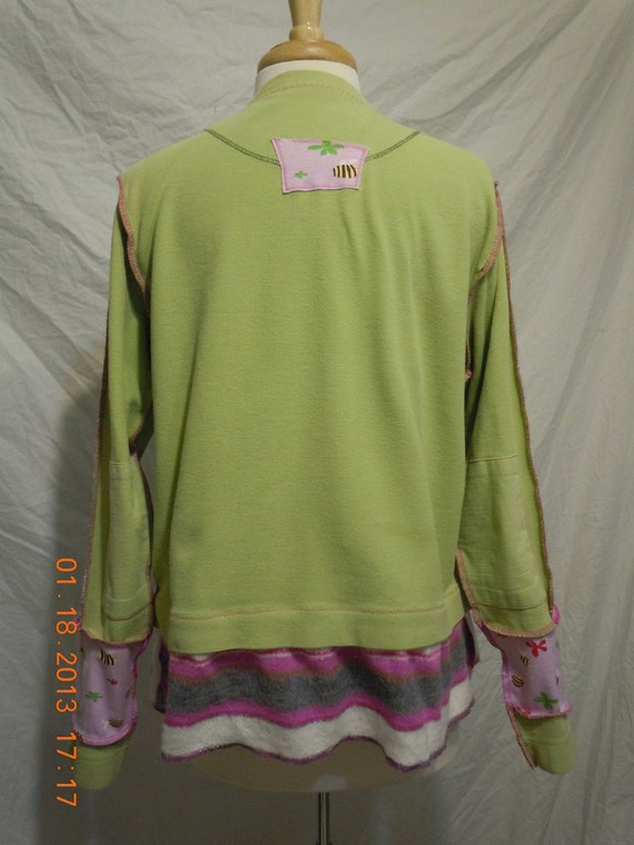 Upcycled Sportif thermal TeE in spring green, pink, stripes, exposed seams, long sleeve, no.154