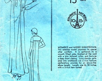 1930s Bust 38 Misses Nightgown Vintage Sewing Pattern Yoke Advance 902 c 1933 - 1934 30s