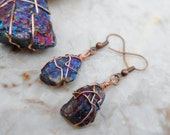 Chalcopyrite (Peacock Ore)/ Bornite Raw Stone Wire Wrapped Dangle Earrings