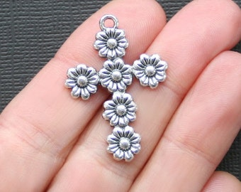 4 Cross Charms Antique  Silver Tone Beautiful Floral Design- SC2128