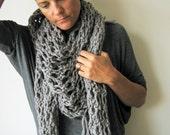 Grey Scarf Shawl Hand Knitted