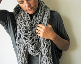 Grey Scarf Shawl Hand Knitted