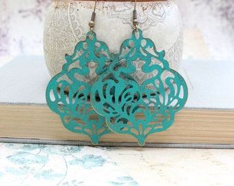 Large Filigree Earrings Teal Patina Dangle Earrings Large Drop Lacy Verdigris Rustic Romantic Statement Jewelry Big Boho Chic Chandelier
