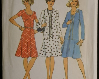 Simplicity 6749 Misses Dress and Unlined Cardigan Vintage 70s Sewing Pattern Sz 10