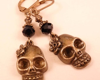 Skull Earrings Brass Earrings Skull Jewelry Brass Jewelry Beaded Jewelry Beaded Earrings