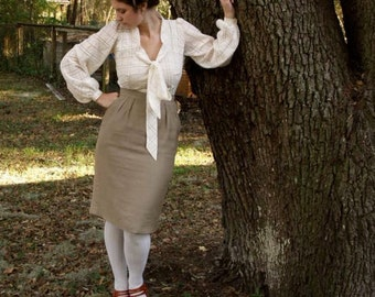 Romantic tie collar bishop sleeve blouse- silk/ cotton organdy- made to your measurements.
