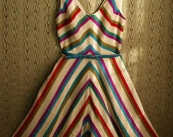 Lightweight Wool Challis Striped Chevron dress with half circle skirt-custom made to measure