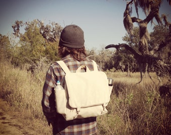 Sand corduroy backpack with adjustable straps- custom made mens womens book bag- super sturdy