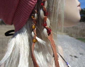 2 Leather Beaded  Hair Extensions Ponytail Holders Feather Bead Hair Wrap Extensions  Z106L