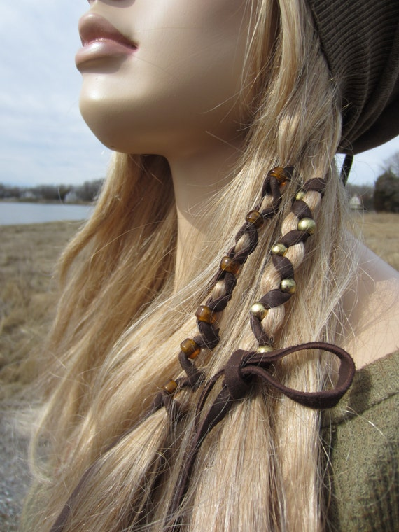 2 bohemian style hair wraps ponytail holders leather feather like this item pmusecretfo Image collections