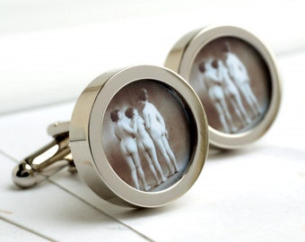 Vintage 1920s Nude Cufflinks - Three Naked Girls Together PC472