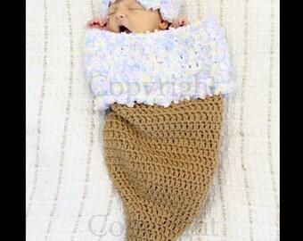 Newborn Girl Cocoon, New ICE CREAM CONE Cocoon and Hat Set, Crochet Baby Cocoon,  Newborn Baby Photo Prop