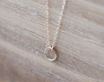 Tiny Eternity Circle Necklace - Sterling Silver  - Simple Everyday Necklace - Layering Necklace - Forever Necklace - Anniversary Gift