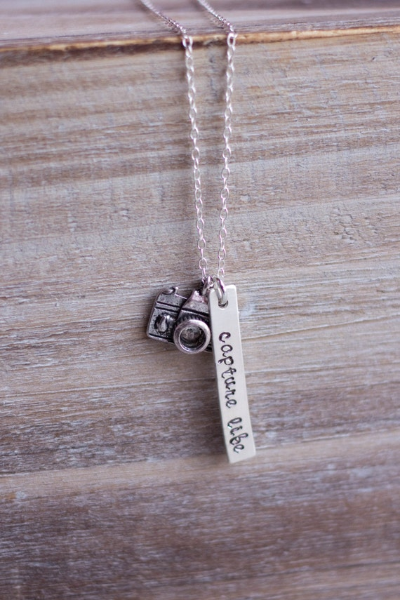 Camera Necklace - Hand Stamped Capture Life Photography Necklace - Sterling Silver - Christmas Gift