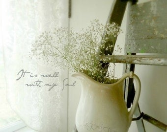 IT IS WELL with My Soul Photograph - Ironstone Pitcher & Hymn Title - Digital Download