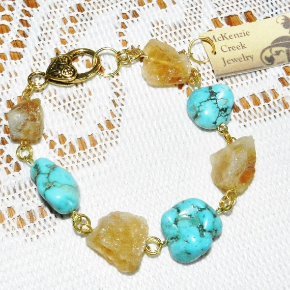 Turquoise Chunky Citrine Nugget Magnesite Gold Metal Earthy Natural