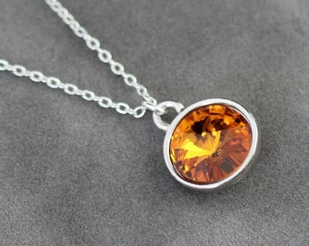 Topaz Necklace, November Birthstone Necklace, Crystal Topaz Jewelry, November Birthstone Jewelry