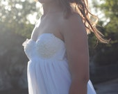 Wedding Dress  Soft Chiffon with Vintage lace Bodice Strapless Baby-doll  - Alora Gown SAMPLE SALE