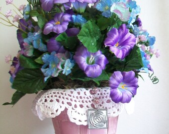 Spring Table Centerpiece - Springtime Shades of Purple and Blue