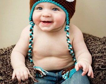Crochet Baby Owl Earflap Hat - Newborn to 10 years - Chocolate and Blue Mint - MADE TO ORDER