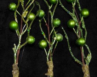 Seaweed Hair Pin - Green Glitter