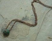Dainty Necklace, Filigree Green Patina Bead Pendant, Tiny Round Pendant, Tiny Filigree Pendant, Copper Necklace, Fine Cable Copper Chain.