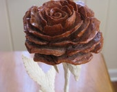 Carved Wood Rose for Wedding Gift  Anniversary Gift or Birthday Gift: carved wood memento of a special  life event  that lasts