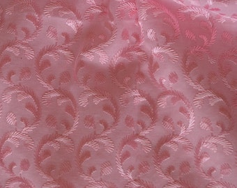 Cotton fabricr embroidery in dark pink on pink - half yard
