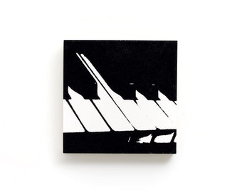 Music Wall Art: Piano Keys on Wood (6 x 6 inche, Black and White) Screen Print & Painting, Modern Home Decor