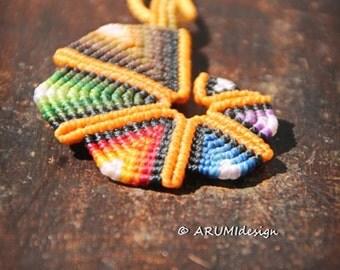 Small ORANGE RAINBOW SPIRAL fiber pendant, cavandoli macrame adjustable necklace