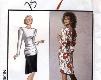 Style 1298 by Adolfo Vintage 80s Misses' Lined Dress Sewing Pattern - Uncut - Size 14 - Bust 36