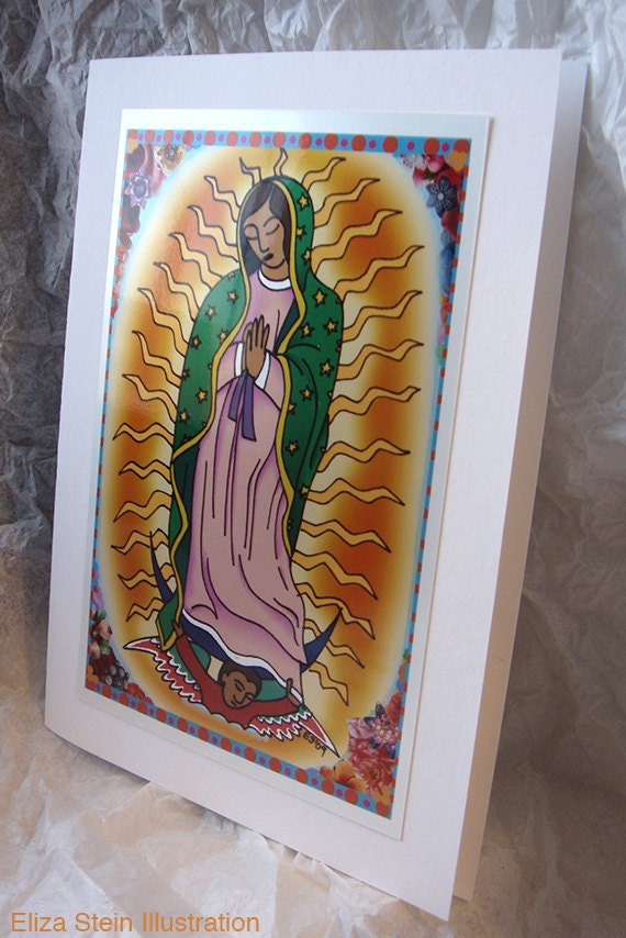Virgen de Guadalupe Greeting Card, Blank, 5x7 Card