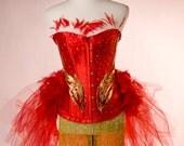 PHOENIX  : Red Ring Master Las Vegas Showgirl Burlesque Corset Adult Women's Carnival Masquerade Costume