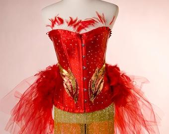 LAST ONE! PHOENIX  : Red Ring Master Las Vegas Showgirl Burlesque Corset Adult Women's Carnival Masquerade Costume