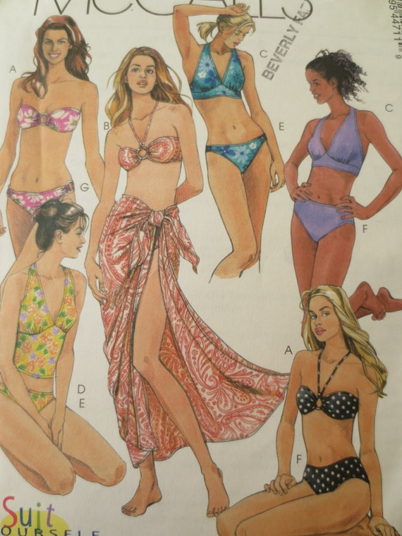 McCall's M4471 Sewing Pattern, Swimsuit Pattern, Bikini, Bathing Suit Pattern, McCall's 4471, Bust 30 and a Half to 34, Swimwear Pattern