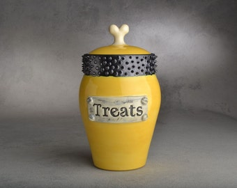 "Dog Treat Jar: ""Treats"" Faux Metal Plaque Yellow & Black Spiky Collared Treat Jar by Symmetrical Pottery Made To Order"