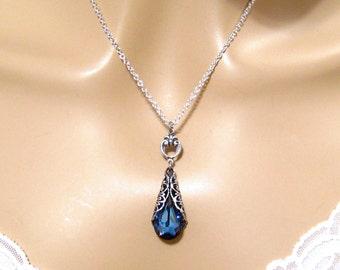 Dark Blue Crystal Necklace: Romantic Victorian Swarovski Maliblue Blue Crystal Bridal Necklace, Bridesmaids Gift, Bridal Wedding Jewelry