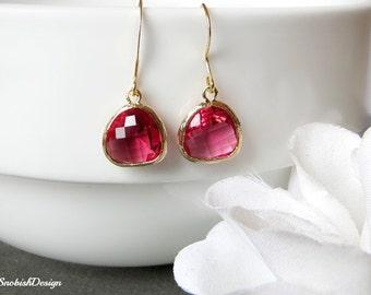 Ruby Earrings, Dainty Gold Earrings, Stone Earrings, Minimalist Earrings, Bridesmaid Earrings,Everyday Earrings,Simple Earrings,Ruby Jewelry