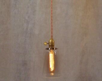 Vintage Industrial Steel Tubular Glass Pendant Light - Machine Age Minimalist Bare Bulb Hanging Lamp, Flat Steel Shade