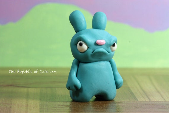 Teal Angry Bunny Figurine - Handmade Designer Toy for Kids and Adults - Fun Home Decoration - Weird Desk Accessory
