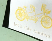 Let's Ride Tandem Letterpress Card