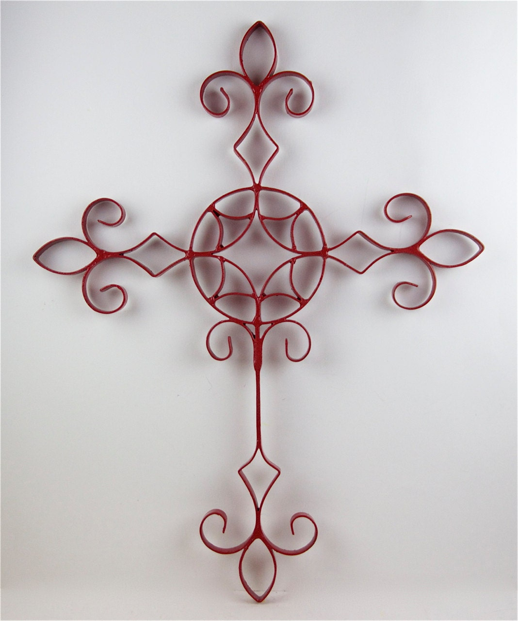 Items similar to red cross metal scrollwork decorative for Decorative scrollwork
