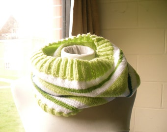 Hand Knitted Cowl, Green and White Striped Cowl