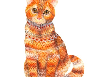Ginger Cat, orange kitten, animal art print by OlaLiola, size 8x10 (No. 19)