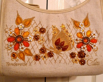 Enid Collins of Texas Tenderette Bag Vintage Butterfly Shoulder Purse 1970s Flowers Gold Orange Rhinestones Canvas Beige Leather Soft Body