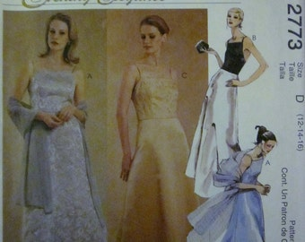 McCalls 2773 Womens Evening Elegance Floor Length Dress and Stole Sewing Pattern Bust 34 36 38